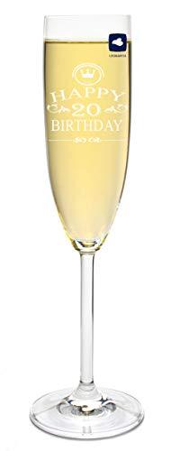 foryou24 Leonardo Sektglas mit Gravur Happy Birthday 20 Jahre Sekt-Glas graviert Geburtstag Geschenkidee