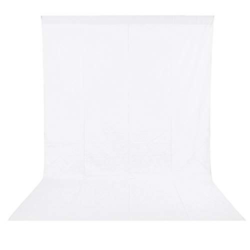 BDDFOTO 1,8 x 2,8m Photo Studio Fotohintergrund Weiß 100% Reiner Baumwolle Muslin Faltbare Whitescreen Background Fotoleinwand für Fotografie, Video und Fernsehen - Weiß