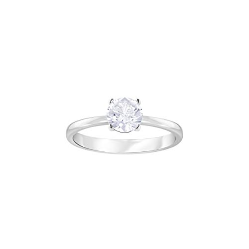 Swarovski Women's Attract Ring, Brilliant White Crystal in a Stunning Rhodium Plated Band, Size N, from the Swarovski Attract Collection