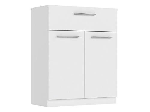Mirjan24 Kommode mit Schubladen Surrey, geeignet als Anrichte, Highboard, Mehrzweckschrank, Sideboard in Wohnzimmer, Esszimmer, Diele, Flur, praktische Schubladenkommode (Weiß, Modell: 2D1S)