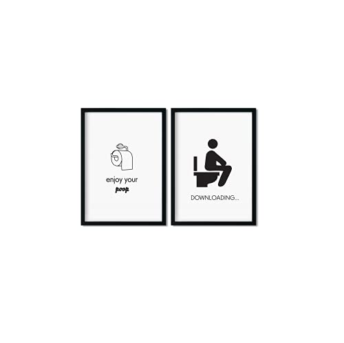 Pinearts Premium WC Poster Set   Bad Deko Modern   Bilder Toilette Lustig   Mitbringsel Erwachsene   Lustige Toilettenschilder Poster Badezimmer   2 x DIN A4 Schwarz Weiß Bilder   OHNE RAHMEN