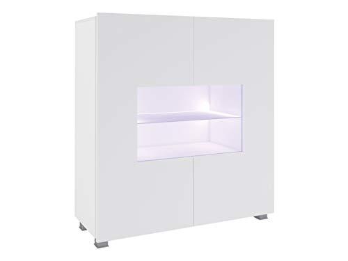 Mirjan24 Kommode Calabrini BR01 mit 2 Türen, Sideboard, Anrichte, 100x107x35 cm, Highboard, Mehrzweckschrank, Wohnzimmer (Weiß/Weiß Hochglanz, mit weißer LED Beleuchtung)