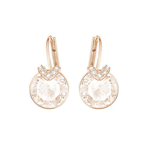 Swarovski Bella Drop Pierced Earrings, with Pink Crystals, Rose-Gold Tone Plated Setting and Clear Crystal Pavé, a Part of the Bella Collection