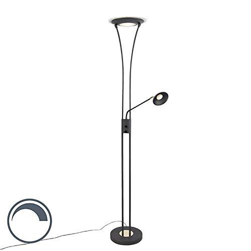QAZQA Modern Moderne Stehleuchte/Stehlampe/Standleuchte/Lampe/Leuchte schwarz mit Leselampe inkl. LED - Ibiza Dimmer/Dimmbar/Innenbeleuchtung/Wohnzimmerlampe/Schlafzimmer/Deckenflute