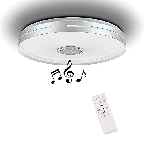 Horevo Bluetooth Deckenleuchte mit Lautsprecher, 24W Musik Deckenlampe mit Fernbedienung, Φ38CM RGB Dimmbar für Kinderzimmer Schlafzimmer
