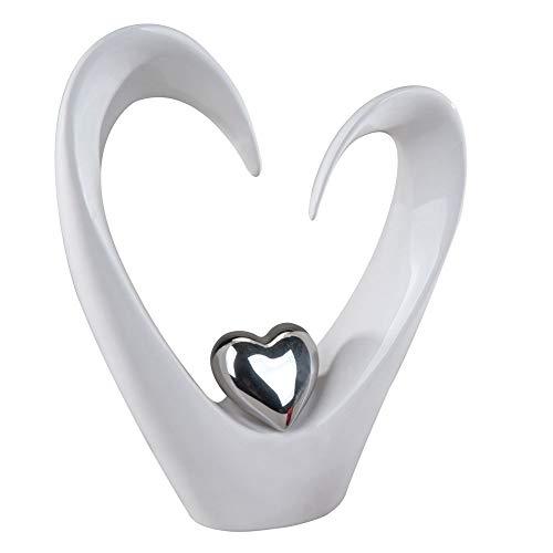 Moderne Deko-Herz Skulptur aus Keramik weiß/silber Höhe 33 cm