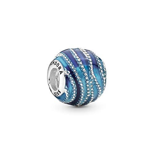 Pandora Moments Blaue Welle Charm Sterling Silber 797012ENMX