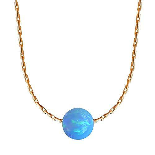 Blue Opal Ball Halskette 14k Gold gef?llt Opal Bead Halskette L?nge 41cm / 16inch + 5cm Extender