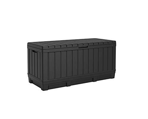 Koll Living Gartenbox Kentwood, 350 Liter Stauraum, anthrazit - kompakte Aufbewahrungsbox mit viel Platz für Sitzauflagen, Gartengeräte oder Kinderspielzeug - hält den Inhalt trocken & gut belüftet