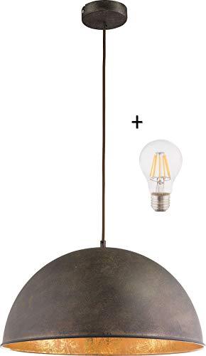 Hängelampe Vintage Esszimmer mit LED Lampe - 41 cm Hängeleuchte Industrial - Rost Optik - Industrie Pendellampe - Küchenlampe - Pendelleuchte - Höhenverstellbar max 120 cm - Fassung E27-7 Watt