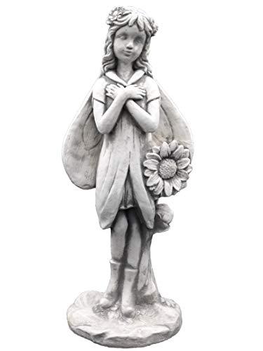 Massive Steinfigur Elfe mit Sonnenblume Fee Steinguss frostfest Raumdeko Gartendeko