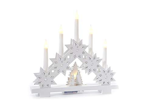 HEITMANN DECO LED-Lichterbogen aus Holz - Stimmungsleuchter - Schwibbogen - beleuchtete Weihnachtsdeko - weiß - für innen