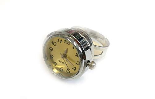 Miniblings Uhr Funktioniert Ring Fingerring Snap Button Uhrzeit Armbanduhr GELB - Handmade Modeschmuck I Fingerring mit Motiv I verstellbar one Size