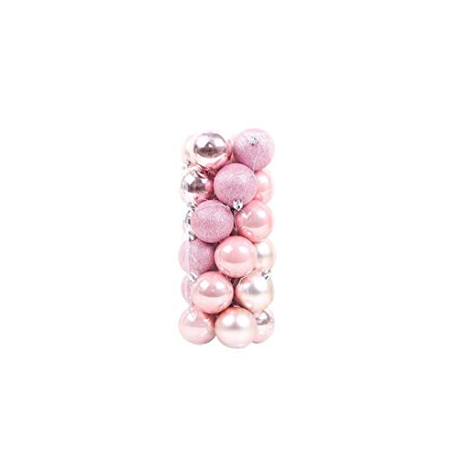 24X Weihnachtskugeln Ornamente Kunststoff Shatterproof Baumschmuck Mit Haken Hängende Kugel-Rosa 1,5 Inches
