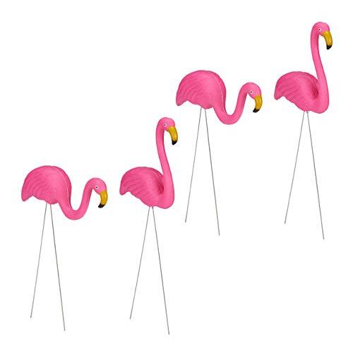 Relaxdays 4 x Flamingo Figur, niedliche Gartendeko, tropisches Flair, Teichfiguren Kunststoff, Metall, Dekofigur 2 Größen, pink