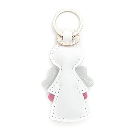 E&A Leder Schutzengel Schlüsselanhänger schönes Geschenk für Lieblingsmensch zur Geburt Taufe Kommunion Firmung Jahrestag handgemacht 9 cm (1 Stück )