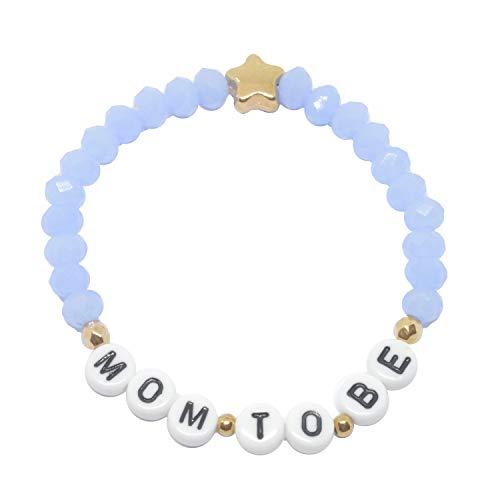 Selfmade Jewelry ® Mom To Be Armband Rosegold - Zart Lila Perlen Armkettchen elastisch für Werdende Mütter - handmade Geschenk zur Schwangerschaft Geburt inkl. Schmucksäckchen (Hellblau - Stern)