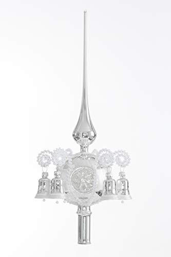 Christbaumspitze mit Reflex und 6 Glöckchen Silber Lauscha mundgeblasen und handdbemalt