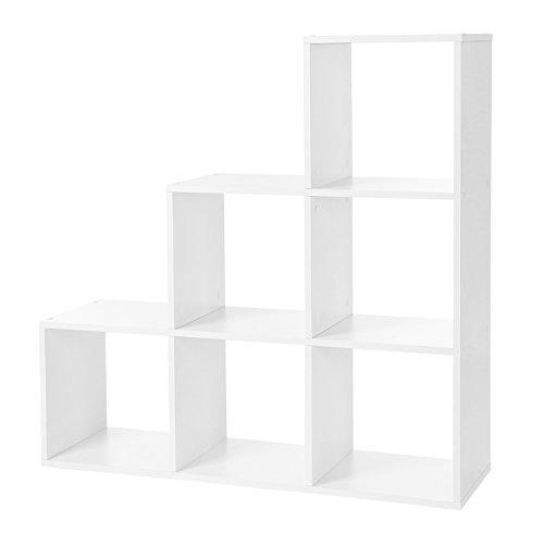 VASAGLE Bücherregal, Treppenregal mit 6 Fächern, 6-Würfel, Ausstellungsregal aus Holz, freistehendes Regal, Raumteiler, 97,5 x 97,5 x 29 cm, weiß LBC63WT