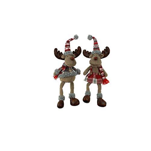 Weihnachtsfigur Kantenhocker Elchpaar Elchfrau und Elchmann mit Mütze und Schal 46 cm groß Kantensitzer Elch Weihnachtsdeko Rentier Elchfigur Dekoelch Weihnachtselch für Weihnachten