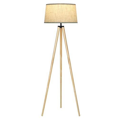 DEWENWILS Stehlampe Wohnzimmer, Stehlampe Vintage mit Beigem Leinen Lampenschirm, Skandinavischen Stil, E27 Fassung, Stehleuchte Holz für Schlafzimmer, Büro, 151 cm Höhe, CE zertifiziert