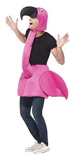 Flamingo Kostüm Rosa Einteiliger gepolsterter Körper mit angesetztem Hals & Haube, One Size