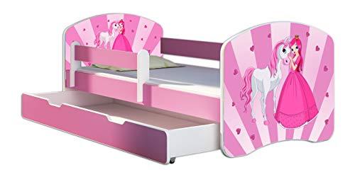 Kinderbett Jugendbett mit einer Schublade und Matratze Rausfallschutz Rosa 70 x 140 80 x 160 80 x 180 ACMA II (08 Princess, 80 x 180 cm mit Bettkasten)