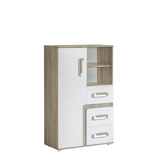 Mirjan24 Kommode Apetito AP06 mit 3 Schubladen, Schrank für Jugendzimmer, Kinder Kommode, Kinderzimmer, Schubladen Kommode (Eiche Hell/Weiß)