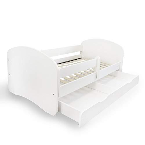 Alcube Kinderbett mit Rausfallschutz, Matratze und Schublade als Set, Bett für Jungen und Mädchen weiß 80x160 cm