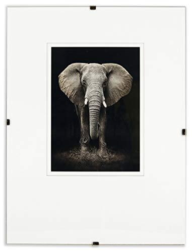 Postergaleria Bilderrahmen Rahmenlos   40x50cm   Klar Plexiglas   mit Clips   Bildhalter für Fotos Poster   Plakatrahmen   viele Größen   gut für Wohnzimmer, Esszimmer, Küche