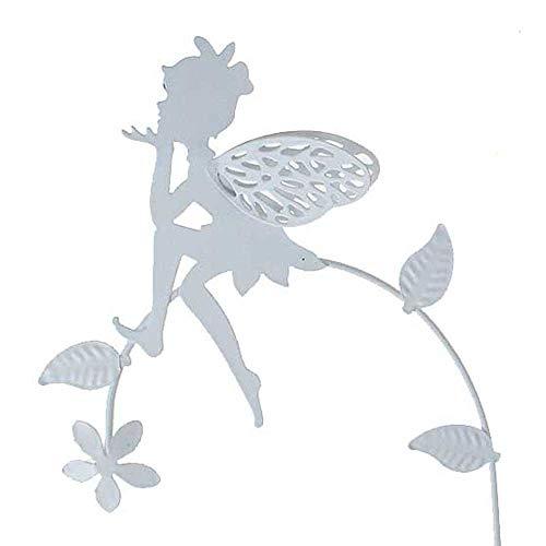 Floral-Direkt Stecker Elfe Fee auf Zweig Metall L44,5cm Weiss oder rost Garten Deko Pick Stab, Farbe:weiß