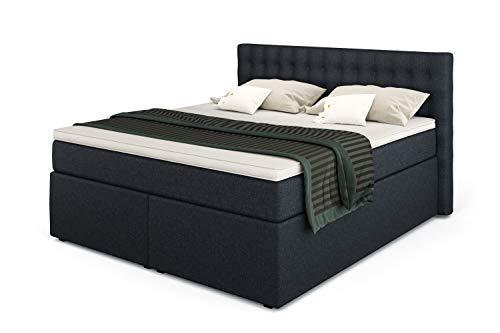 Betten Jumbo King Boxspringbett 160x200 cm mit 7-Zonen TFK Härtegrad H3 und 10 cm V2-Topper | Farbe Marineblau | div. Größen verfügbar