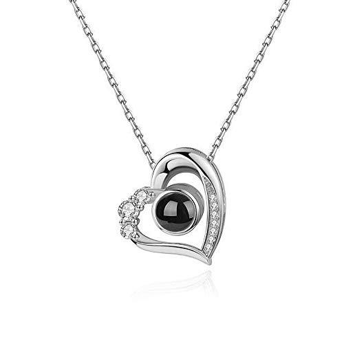 Ich Liebe Dich Halskette 100 Sprachen Personalisiertes Foto Herz Projektion Halskette Erinnerung an die Liebe in 925 Sterling Silber Rose Gold für Liebhaber Mutter