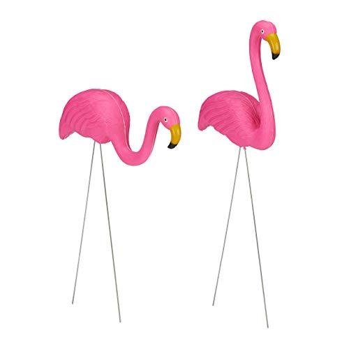 Relaxdays Flamingo Figur 2er Set, niedliche Gartendeko, tropisches Flair, Kunststoff, Metall, Dekofigur 2 Größen, pink