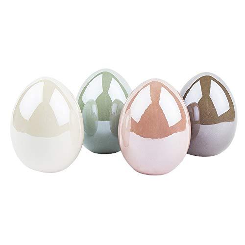 Deko-Eier aus Keramik   Ostereier in Porzellan-Optik   Hochglänzend mit Perlmutt-Effekt (Creme, Taupe, Mint, rosé   4 Stück   8 cm hoch, Ø 6 cm)