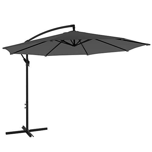 SONGMICS Sonnenschirm, Ampelschirm Ø 300 cm, mit Kurbel zum Öffnen und Schließen, Sonnenschutz, Gartenschirm, UV-Schutz bis UPF 50+, für Garten, Terrasse, grau GPU016G01