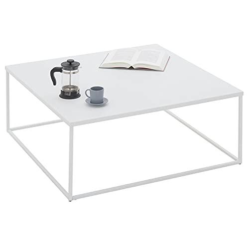 IDIMEX Couchtisch HILAR Sofatisch Wohnzimmertisch 80 x 80 cm, Tischplatte und Gestell Metall weiß lackiert