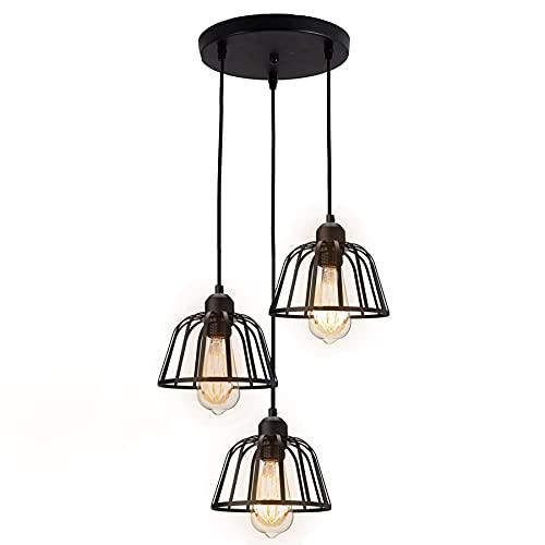 Industielle 3 Flammige Pendelleuchte - Retro Hängeleuchte Schwarz Metall Käfig Lampenschirm E27 Fassung Landhausstil Lampe für Decke Esstisch Wohnzimmer Küche