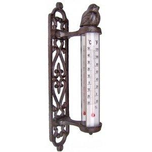 ecosoul Gartendeko Wanddekoration Thermometer mit Vogel außen Wandthermometer Gusseisen dunkelrostfarben