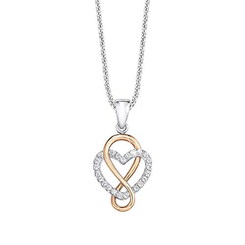 s.Oliver Kette mit Anhänger für Damen Herz, 925er Sterling Silber teilvergoldet