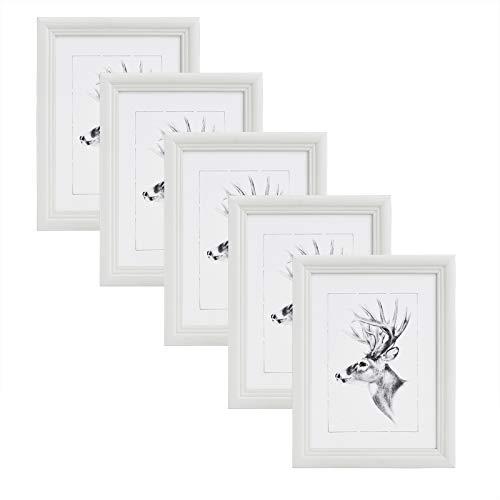 WOLTU 5er Set Bilderrahmen,13x18cm Artos Stil Holzrahmen Fotogalerie Glasscheibe,Weiß