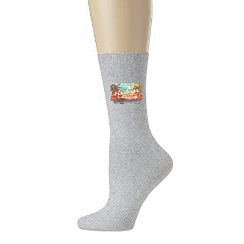 WU4FAAR Crew-Socken, Hawaiianische Inseln Art Design, rutschfeste Socken, gemütliche Hausschuhe, für Damen und Herren, Schwarz Gr. Einheitsgröße, grau