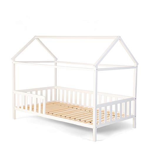 """Alcube Exklusives Kinderbett """"Lina - Hausbett 160x80 """" mit Rausfallschutz und Lattenrost in weiß"""
