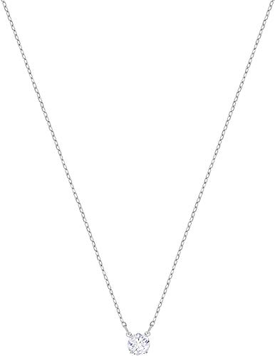 Swarovski Attract Round Halskette, Rhodinierte Damenhalskette mit Weißem, Funkelndem Swarovski Kristall