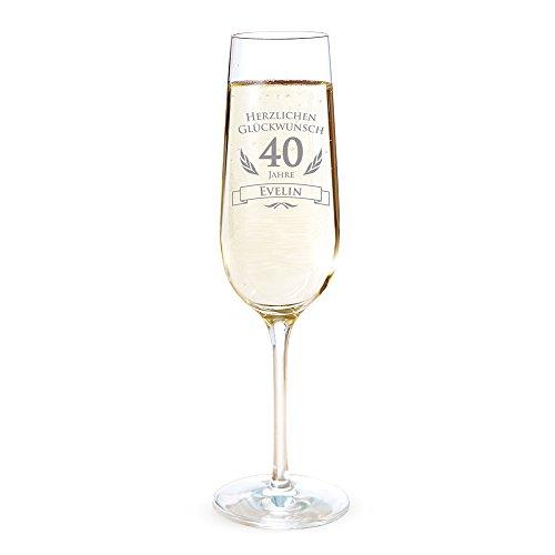 AMAVEL Sektglas mit Gravur zum 40. Geburtstag – Personalisiert mit [Namen] – Sektflöte als Geburtstagsgeschenk – Geschenkidee für Frauen – Glas für Sekt, Champagner und Prosecco – Sektkelch