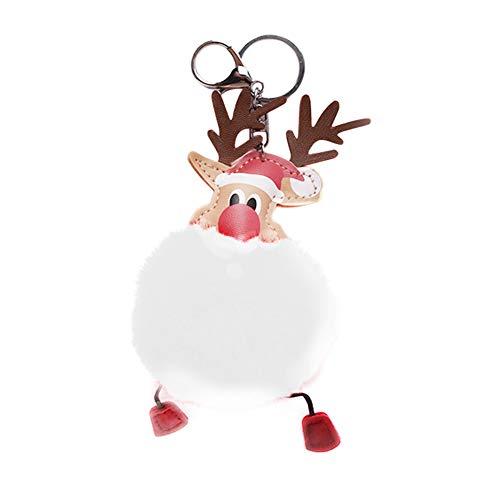 Scrox 1x Plüsch hängende Schlüsselbund Keychain Weihnachten Elch Schlüsselring Niedlich Taschenanhänger Tasche Deko Anhänger Schlüsselanhänger, Paar Geschenk - Weiss