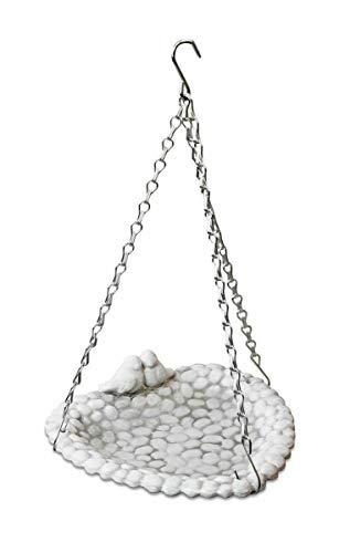 Lifetime Garden! Vogeltränke hängend für den Garten, Vogelbad in Herz-Form aus Keramik, 3 Kettenaufhänger, 2 Deko-Vögel, Natur weiß