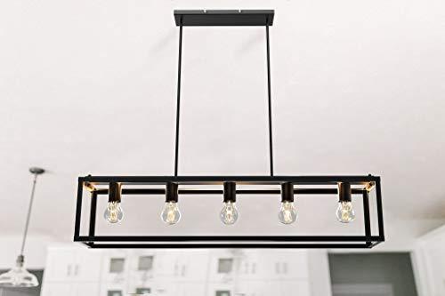 Depuley Vintage Pendelleuchte mit 5 Flammig, LED Hängelampe Esstisch Eisen, E27 Fassung, 5 * 6W Leuchtmittel, Hängeleuchte Küchenlampe Industrial für Wohnzimmer Restaurant Cafe Bar(6W Birne inkl.).