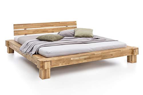 WOODLIVE DESIGN BY NATURE Massivholz-Bett Kavas aus Wildeiche, Balkenbett, massives Holzbett als Doppel- und Komfortbett verwendbar (200 x 200 cm)