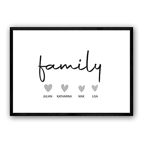 Zertify® Personalisiertes Familie Poster | Typographie Wandbild Querformat in Minimalistisches Design | Familienbild für Kinderzimmer, Wanddeko oder Wohnzimmer Deko | Größe und Rahmen Optional
